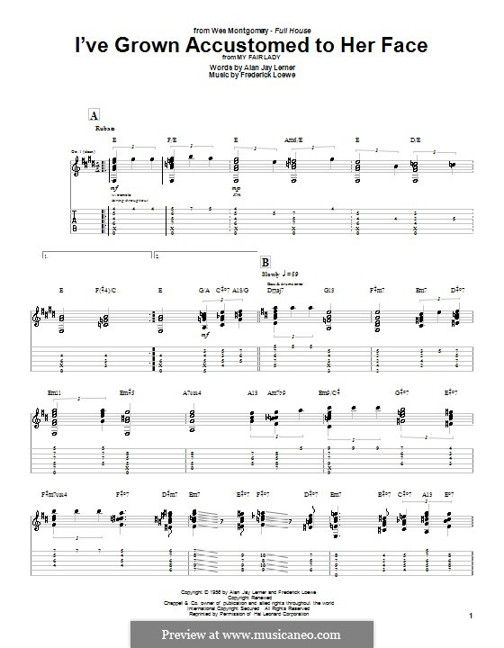 I've Grown Accustomed to Her Face (from My Fair Lady): For guitar with tab by Frederick Loewe