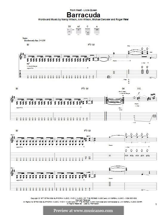 Barracuda (Heart): For guitar with tab by Ann Wilson, Michael Derosier, Nancy Wilson, Roger Fisher