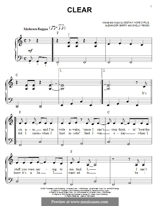 Clear (Hannah Montana): For easy piano by Alexander Barry, Destiny Hope Cyrus, Shelly Peiken