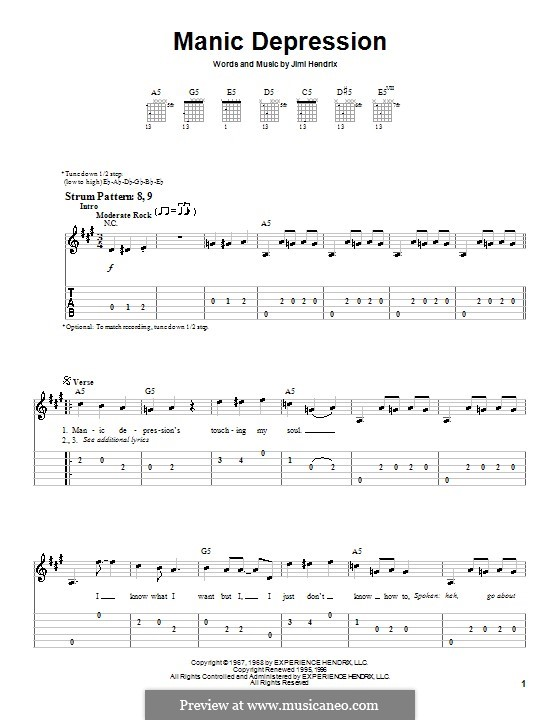 Manic Depression: For guitar (very easy version) by Jimi Hendrix