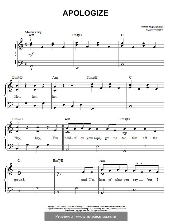 Piano rb piano chords : Apologize (OneRepublic) by R.B. Tedder - sheet music on MusicaNeo
