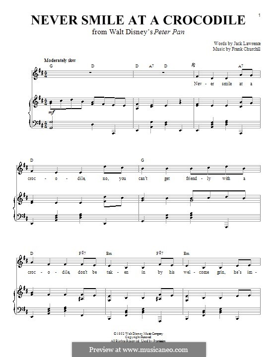Never Smile at a Crocodile: For voice and piano (or guitar) by Frank Churchill