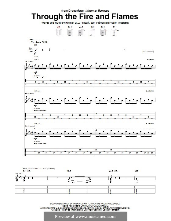 Through the Fire and Flames (DragonForce): For guitar with tab by Herman Li, Sam Totman, Vadim Pruzhanov, ZP Theart