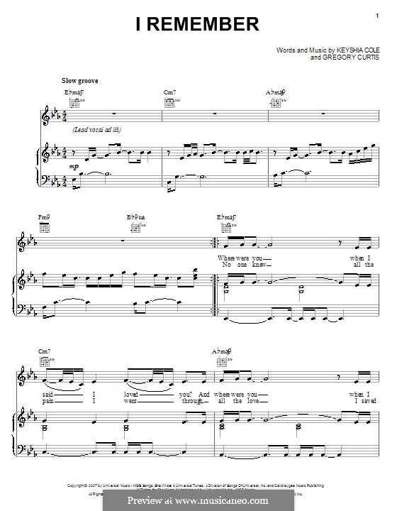 I Remember (Keyshia Cole): For voice and piano (or guitar) by Gregory G. Curtis