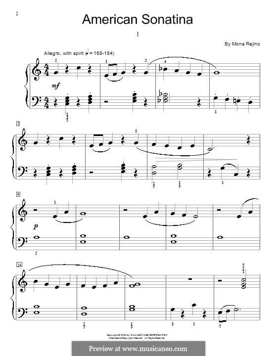 American Sonatina: For piano by Mona Rejino