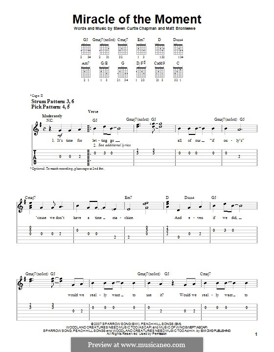 Miracle of the Moment (Steven Curtis Chapman): For guitar (very easy version) by Matt Bronleewe
