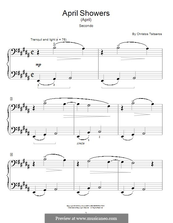 April Showers (April): For piano by Christos Tsitsaros