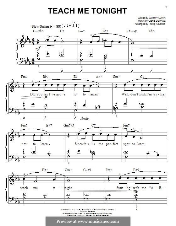 Teach Me Tonight (Frank Sinatra): For easy piano by Gene de Paul