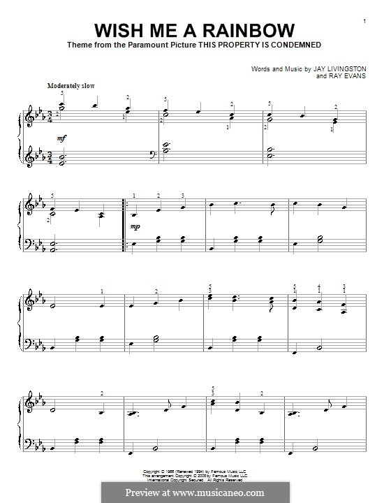 Wish Me a Rainbow (theme from This Property Is Condemned): For piano by Raymond Evans