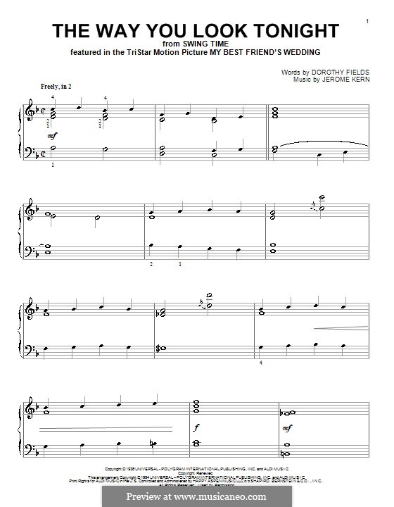 The Way You Look Tonight, for Piano: With fingering by Jerome Kern