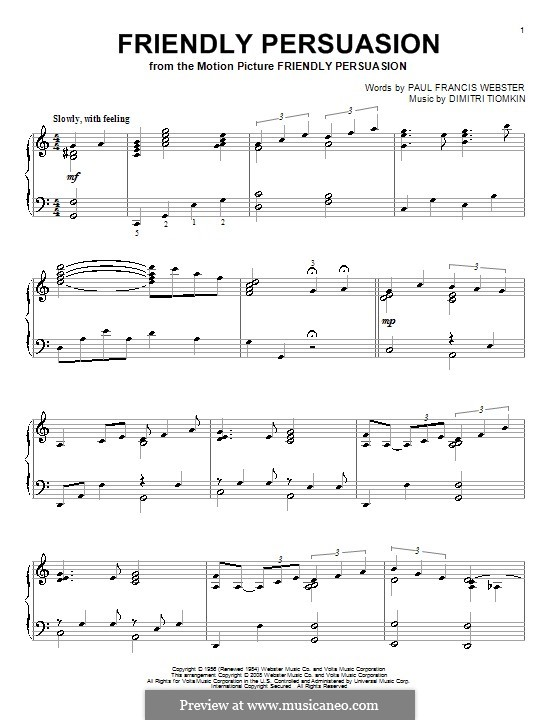 Friendly Persuasion (Pat Boone): For piano by Dimitri Tiomkin, Paul Francis Webster