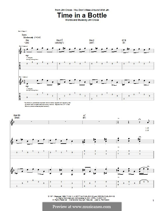 Time In A Bottle By J Croce Sheet Music On Musicaneo
