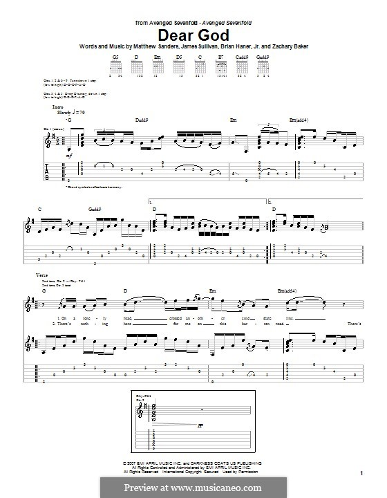 Dear God (Avenged Sevenfold): For guitar with tab by Brian Haner Jr., James Sullivan, Matthew Sanders, Zachary Baker