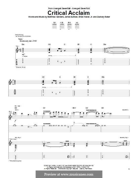 Critical Acclaim (Avenged Sevenfold): For guitar with tab by Brian Haner Jr., James Sullivan, Matthew Sanders, Zachary Baker