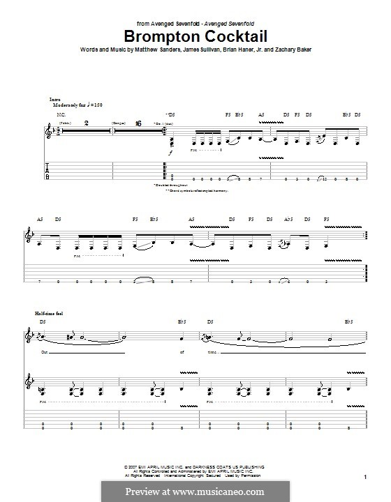 Brompton Cocktail (Avenged Sevenfold): For guitar with tab by Brian Haner Jr., James Sullivan, Matthew Sanders, Zachary Baker