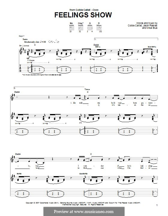 Feelings Show: For guitar with tab by Jason Reeves, Mikal Blue
