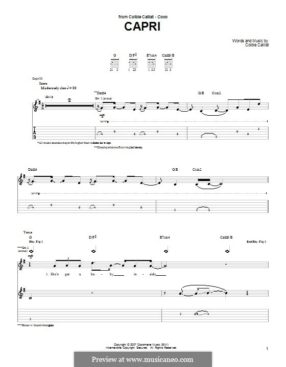 Capri: For guitar with tab by Colbie Caillat