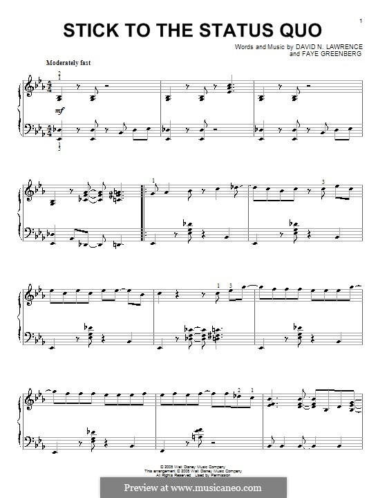Stick to the Status Quo (High School Musical): For piano by David N. Lawrence, Faye Greenberg