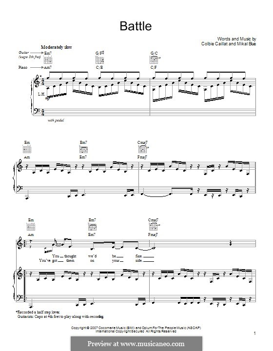 Battle (Colbie Caillat): For voice and piano (or guitar) by Mikal Blue