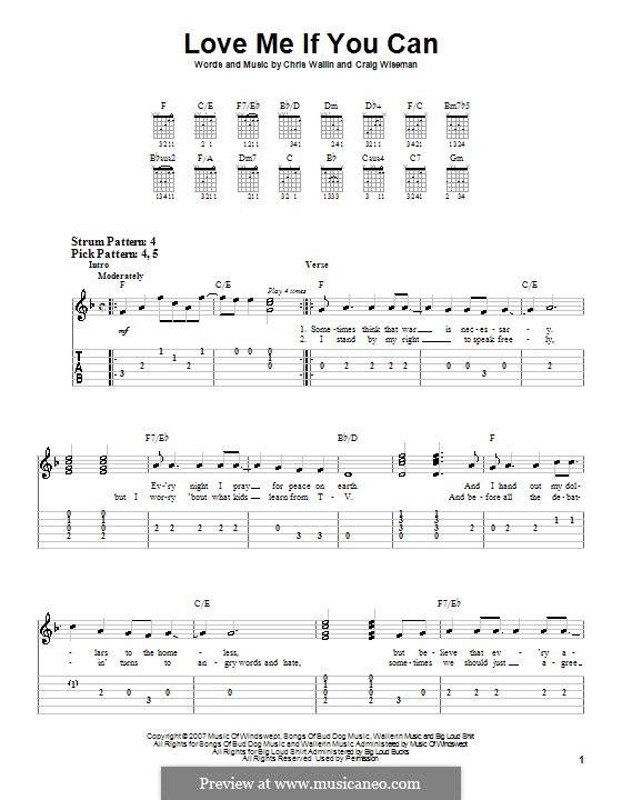Love Me If You Can (Toby Keith): For guitar (very easy version) by Chris Wallin, Craig Wiseman