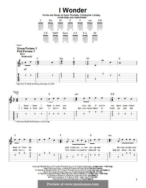 I Wonder (Kellie Pickler): For guitar (very easy version) by Aimee Mayo, Christopher Lindsey, Karyn Rochelle
