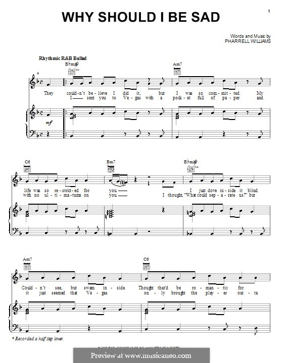 Why Should I Be Sad (Britney Spears): For voice and piano (or guitar) by Pharrell Williams