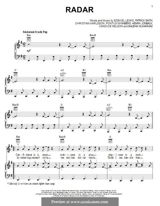 Radar (Britney Spears): For voice and piano (or guitar) by Balewa Muhammad, Candice Nelson, Christian Karlsson, Ezekiel Lewis, Henrik Jonback, J. Que, Pontus Winnberg