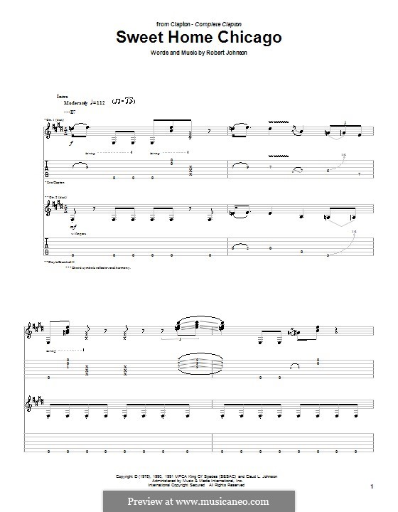Sweet Home Chicago (Eric Clapton): For guitar with tab by Robert Leroy Johnson
