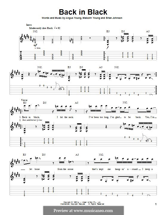 Back in Black (AC/DC): For guitar with tab by Angus Young, Brian Johnson, Malcolm Young