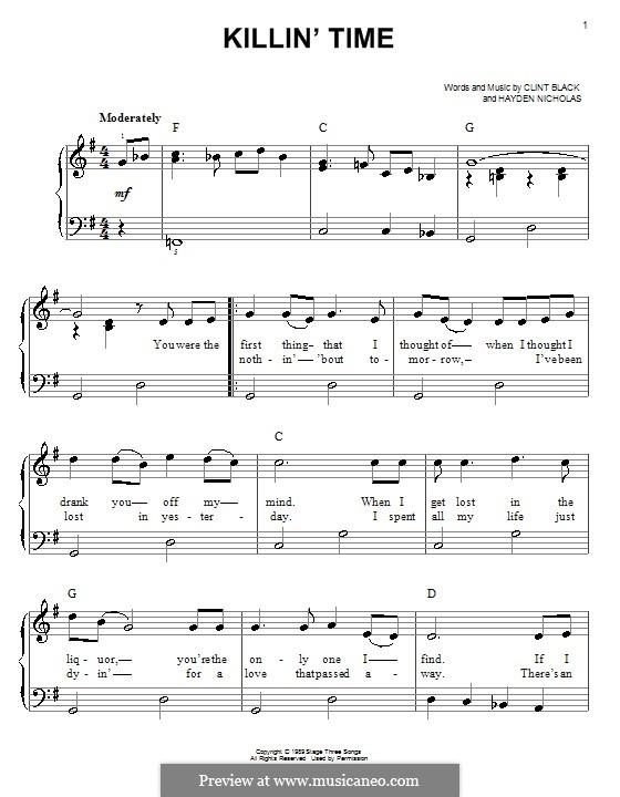 Killin' Time (Clint Black): For easy piano by Hayden Nicholas