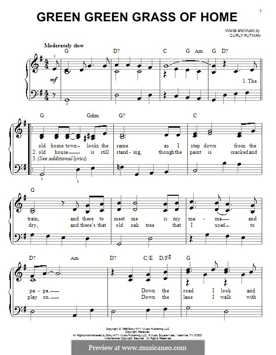 Green Green Grass of Home: For piano by Curly Putman