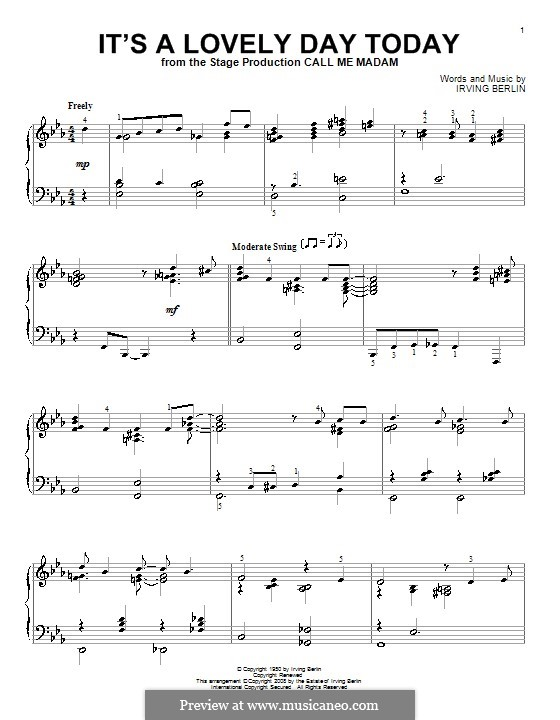 It's a Lovely Day Today: For piano by Irving Berlin