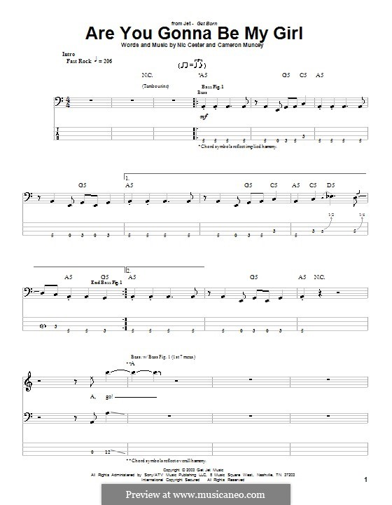 Are You Gonna Be My Girl (Jet): For bass guitar with tab by Cameron Muncey, Nic Cester