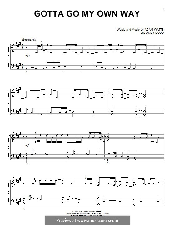 Gotta Go My Own Way (High School Musical 2): For piano by Adam Watts, Andrew Dodd