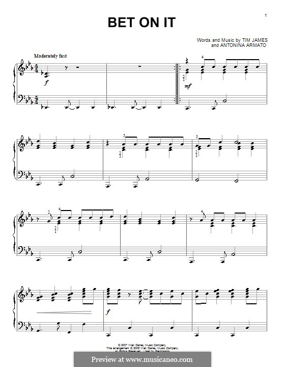 Bet on It (High School Musical 2): For piano by Antonina Armato, Timothy James