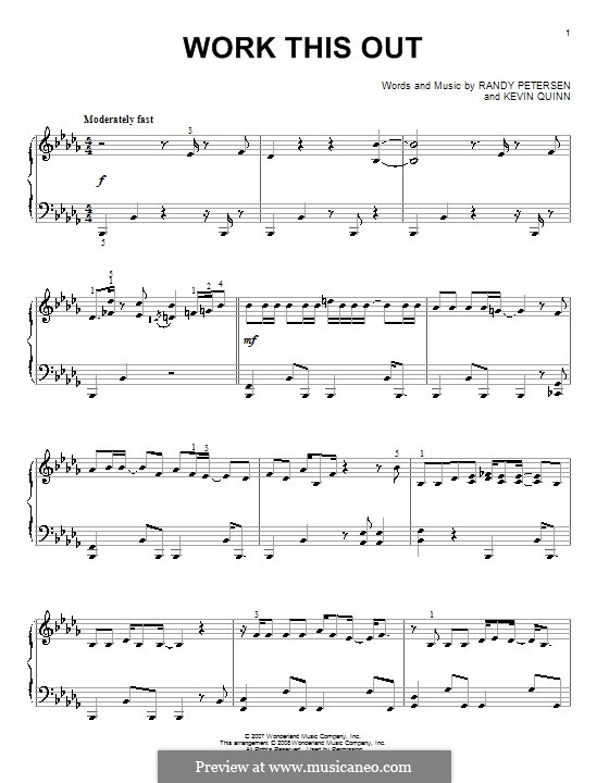 Work This Out (High School Musical 2): For piano by Kevin Quinn, Randy Petersen