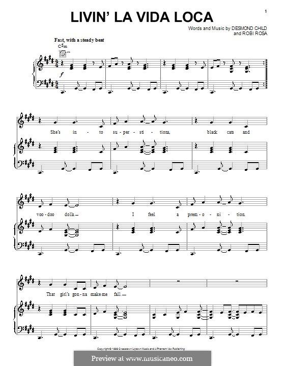 Livin' la vida loca (Ricky Martin): For voice and piano (or guitar) by Desmond Child, Robi Rosa