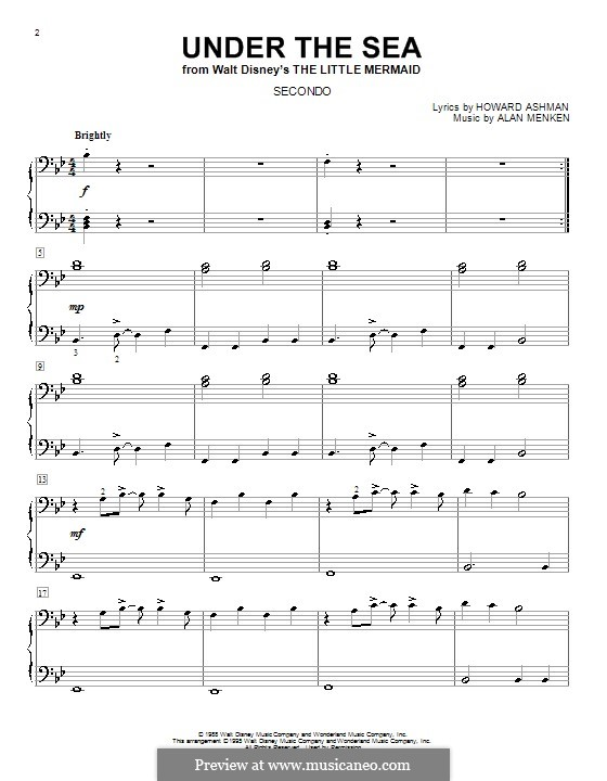 Under the Sea (from The Little Mermaid): For piano four hands by Alan Menken