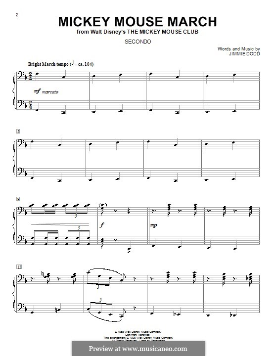 Mickey Mouse March: For piano four hands by Jimmie Dodd