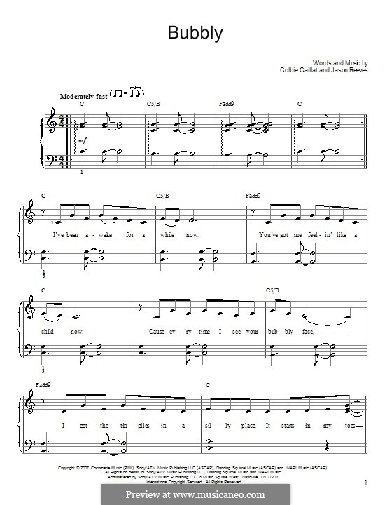 Bubbly By J Reeves Sheet Music On Musicaneo