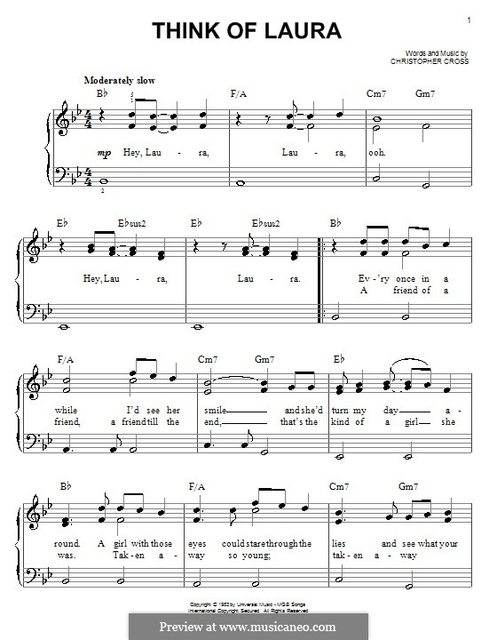 Think of Laura: For easy piano by Christopher Cross
