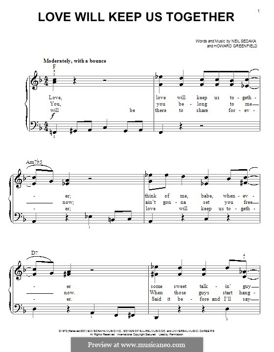 Love Will Keep Us Together (The Captain & Tennille): For easy piano by Howard Greenfield, Neil Sedaka
