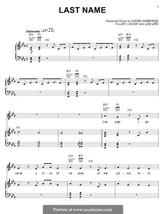 Last Name (Carrie Underwood): For voice and piano (or guitar) by Hillary Lindsey, Luke Laird
