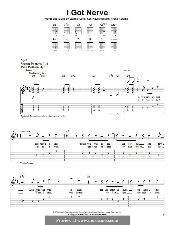 I Got Nerve (Hannah Montana): For guitar (very easy version) by Aruna Abrams, Jeannie Lurie, Ken Hauptman