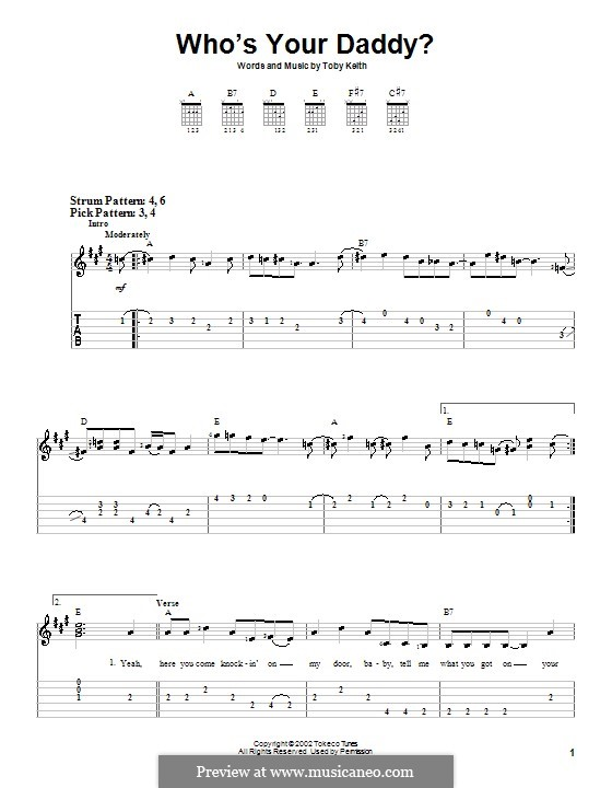 Who's Your Daddy?: For guitar (very easy version) by Toby Keith