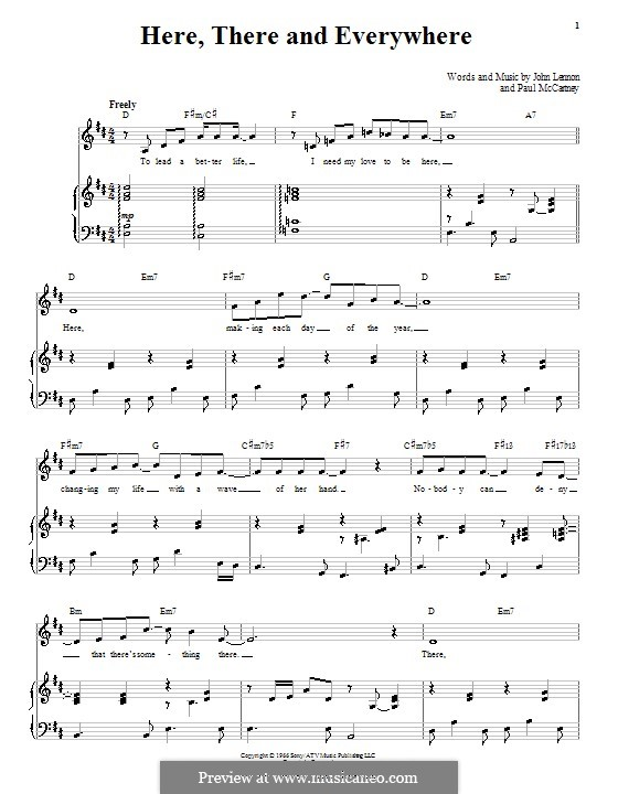 Here, There and Everywhere (The Beatles): For voice and piano (or guitar) by John Lennon, Paul McCartney