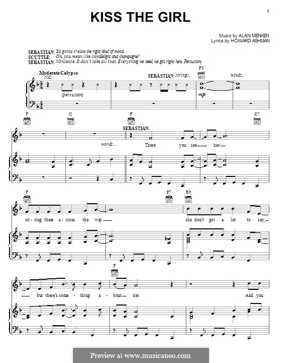 Kiss the Girl (from The Little Mermaid): For voice and piano (or guitar) by Alan Menken