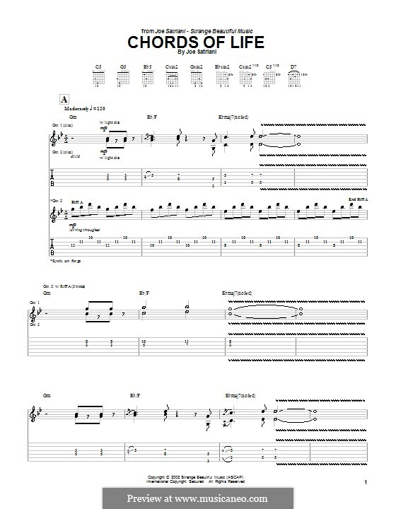 Chords of Life: For guitar with tab by Joe Satriani