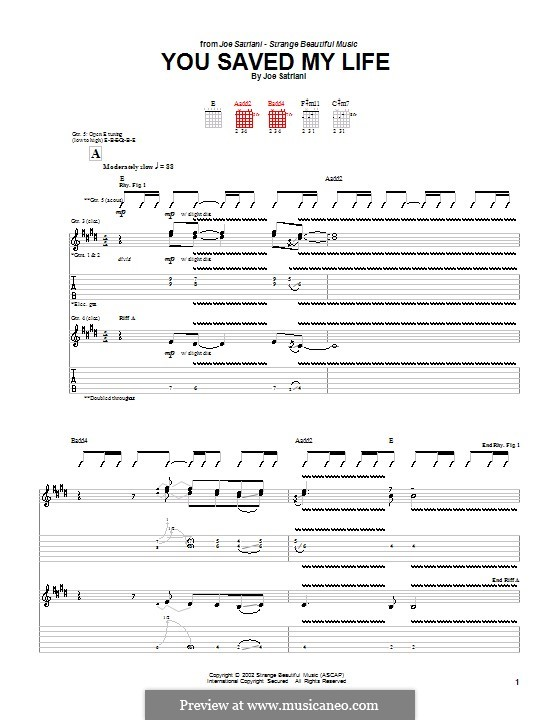 You Saved My Life: For guitar with tab by Joe Satriani