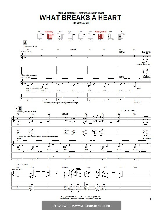 What Breaks a Heart: For guitar with tab by Joe Satriani